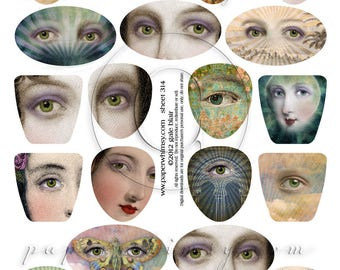 PaperWhimsy Digital Download Collage Sheet Beautiful Eyes ATC ACEO Backgrounds Collage Art Sheet 314