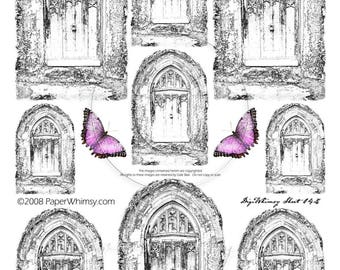 PaperWhimsy Digital Download Collage Sheet English Doors ATC ACEO Backgrounds Collage Art Digisheet 048