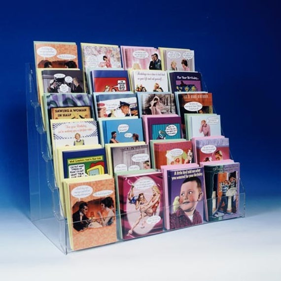 Note greeting card display rack new acrylic 6 tier 24 etsy image 0 m4hsunfo