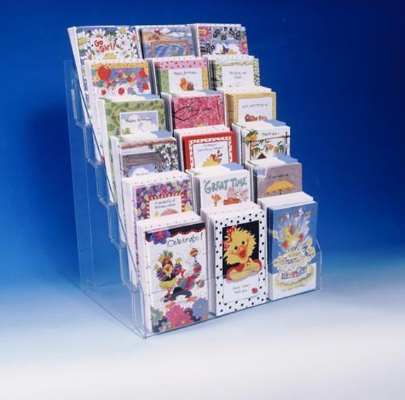 Note greeting card display rack new acrylic 6 tier 16 etsy image 0 m4hsunfo