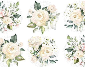Light Pink, White Roses Water-Slide Decals, Decorate Flame-less Candles, Glassware, Ceramics, Home Decor, Furniture, Jewelry, Craft Projects