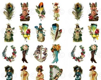 Victorian Style Feathers, Flowers Water-Slide Decals, Decorate Flame-less Candles, Soap, Glass, Home Decor, Furniture, Crafting-DS112