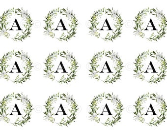 Floral Wreath Letter Water-Slide Decals, Decorate Flame-less Candles, Soap, Glass, Home Decor, Magnets, Jewelry, Craft Projects, Scrapbooks