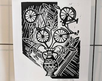 Bike Bouquet - original linocut print blockprint