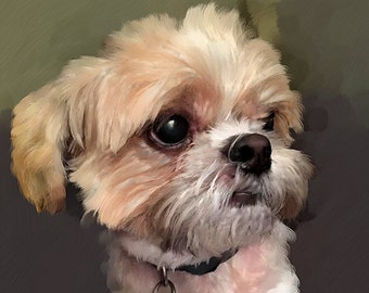 CUSTOM DOG PORTRAIT in Oil - Dog Oil Portrait from Photo on Canvas - Personalized Pet Portrait I  Dog Portraits I Custom Maltese Portrait
