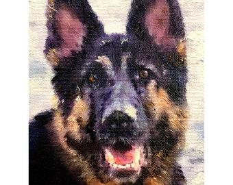 CUSTOM DOG PORTRAIT in Oil - Dog Oil Portrait from Photo on Canvas - Personalized Pet Portrait - Dog Portraits - German Shepherd Portrait