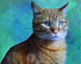 Domestic Cat Portrait - Cat Portraits - Cat Painting from your Photo - Portraits by NC