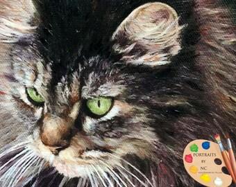 Domestic Cat Oil Portrait - Custom Cat Portrait - Cat Painting from your Photo - Portraits by Nc
