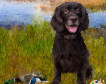 CUSTOM DOG PORTRAIT in Oil - Dog Oil Portrait from Photo on Canvas - Personalized Pet Portrait - Dog Portraits - Water Spaniel Portrait