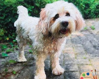 CUSTOM DOG PORTRAIT in Oil - Dog Oil Portrait from Photo on Canvas - Personalized Pet Portrait - Dog Portraits - Custom Cavachon Portrait