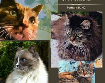CUSTOM CAT PORTRAIT in oil - Cat Oil Portrait from Photo on Canvas - Personalized Pet Portrait - Cat Portrait - Custom Cat Painting