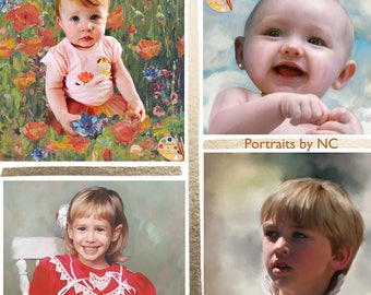 CUSTOM Child PORTRAIT in oil - Child Oil Portrait from Photo on Canvas - Personalized Child Portrait - Kids Portrait - Custom Child Painting