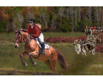 CUSTOM HORSE PORTRAIT in oil - Horse Oil Portrait from Photo on Canvas - The Fox Hunt Equine Portrait - Equine Portraits from Photo