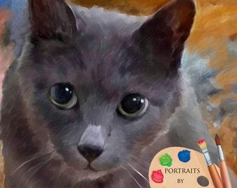 Domestic Cat Portrait - Custom Cat Portrait - Cat Painting from your Photo - Portraits by Nc