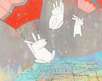 Hello Brooklyn! - Signed Art Print (Brooklyn, bunnies, hot air balloons, map art)