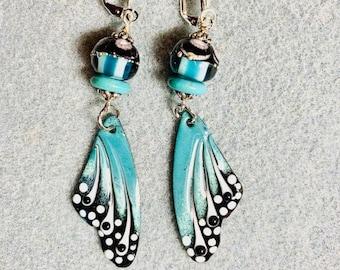 Artisan-Made Enameled Copper Wings, Lampwork Beads, Butterfly Wings, Boho, Dangle Earrings, Teal Green, Mint, BF2
