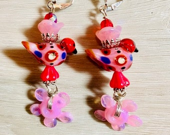 Artisan-Made Glass Flower Disc Charms, Lampwork Birds Beads, Boho, Wire Wrapped, Dangle Earrings, Pink, Red, BI8