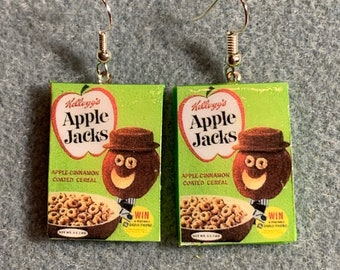 NEW DESIGN- 1960s Kelloggs Apple Jacks Cereal Retro Kitsch Dangle Polymer Clay Junk Food Earrings Nickel-Free