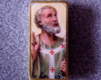 St. Peter Recycled Domino Necklace Patron Foot Problems Butchers Bakers 1