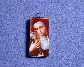 St. Catherine of Siena Recycled Domino Necklace Patron Nurses Firefighters CS5