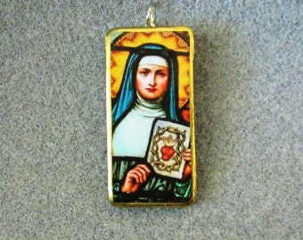 St. Margaret Mary Alacoque Catholic Recycled Domino Pendant Necklace Patron Polio Victims MA5