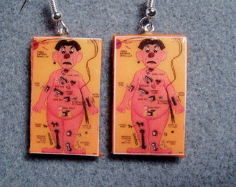 Operation Game Board Kitsch Dangle Polymer Clay Earrings Nickel-Free