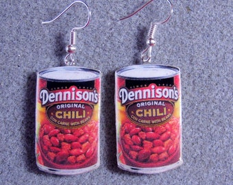 NEW DESIGN - The ORIGINAL Dennison's Chili Cans Kitsch Dangle Polymer Clay Junk Food Earrings Hypo Allergenic Nickle-Free