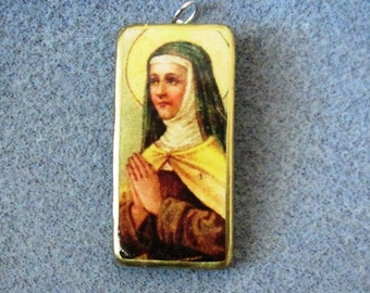St. Teresa of Avila Catholic Art Recycled Domino Necklace Pendant Patron Headaches T4