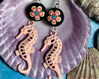 Enameled Seahorse Dangle Earrings, Polymer Clay, Beach, Boho, Sea Life, Pale Pink, Hypoallergenic, PPE2