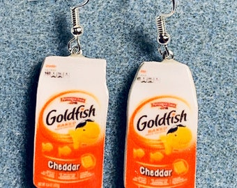 Goldfish Cheddar Crackers Polymer Clay Kitsch Dangle Junk Food Earrings Hypo Allergenic