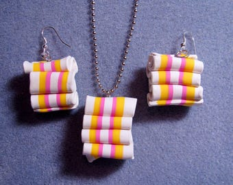 Christmas Ribbon Candy Polymer Clay Earrings Necklace Jewelry Set - Larger