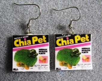 The ORIGINAL Chia Pet Kitsch Dangle Polymer Clay Earrings Hypo Allergenic Nickel-Free