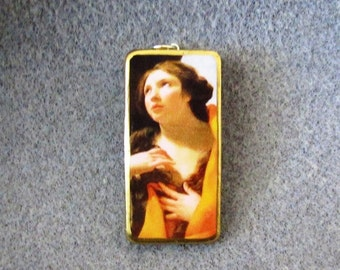 St. Mary Magdalen Catholic Recycled Domino Pendant Necklace Patron Hairdressers Converts MM4