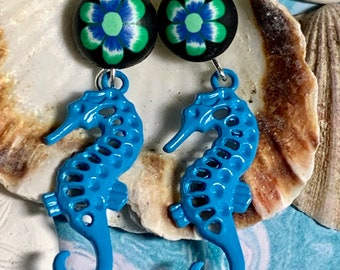 Enameled Seahorse Dangle Earrings, Polymer Clay, Beach, Boho, Sea Life, Turquoise Blue, TBE2, Hypoallergenic