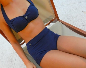 Classic navy high waisted retro bikini  bathing suit with metal star buttons