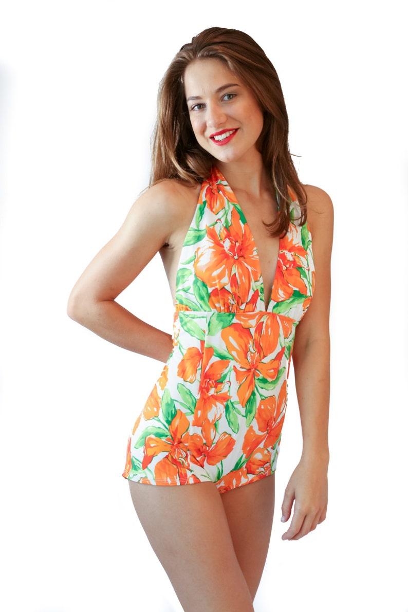 04a165dfcb77d8 Pin-up Bombe ein Stück Badeanzug mit Bikini-Top und bescheiden | Etsy