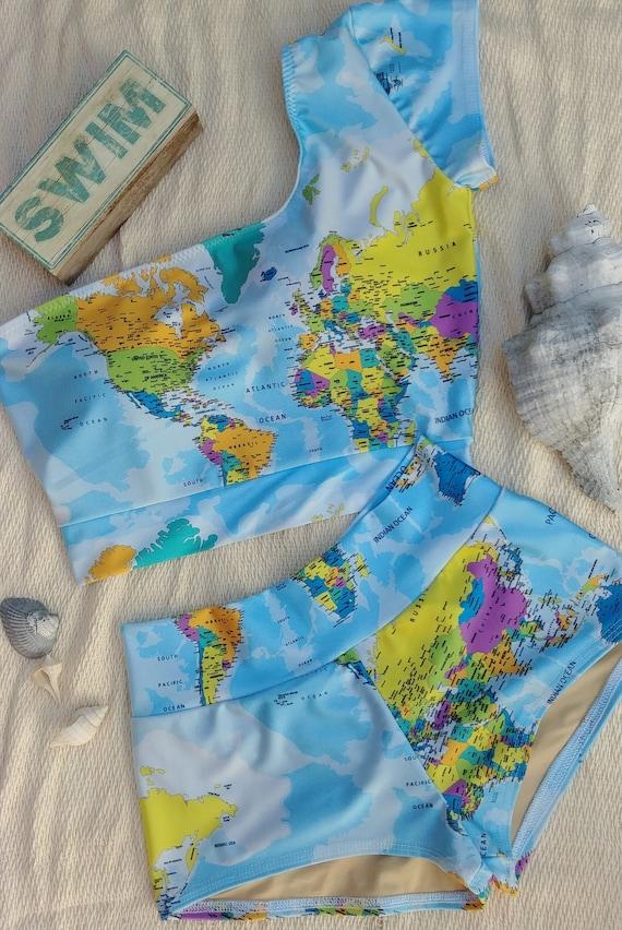 World Map Swimsuit Bikini or One Piece | Etsy