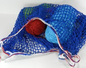 Reusable Shopping Bag, Cotton String Tote, Farmer's Market, Beach or Book Bag