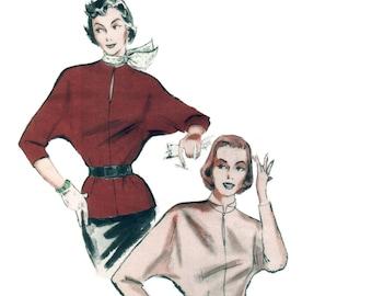 50s uncut Blouse pattern Dolman Sleeve Blouse pattern vintage 30-25-33 Shirt patternkeyhole neckline, easy XS butterick 5620