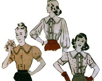 non des années 30-coupe Gibson Girl patron de chemisier blouse vintage motif 34-28-37 évêque manche butterick 4487