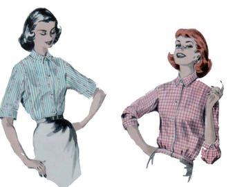 50s uncut Blouse Pattern vintage 34-26-36 Shirt pattern Fitted Blouse pattern Yoke Blouse Sleeveless Blouse Butterick 8096