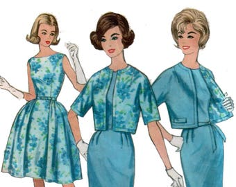"des années 60 ""Wiggle"" robe motif vente plein jupe robe motif assorti veste robe motif vintage 35-27-37 simplicité 4360"