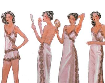des années 70 non-coupe glisse et culottes motif vintage 34-26,5-36 robinet pantalon motif plein glissement motif Camisole motif demi Slip modèle Vogue 9955