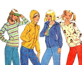 Kangaroo Pockets Hoodie Pattern uncut 70s Sweatshirt Size 18-20  Bust 40-42 Plus Size Roller Derby Track Jacket McCalls 4220