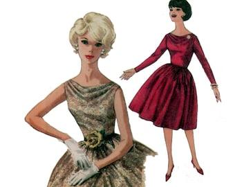 des années 60 non-coupe robe à encolure drapée pleine jupe motif vintage 34-26-36 robe de Cocktail patron robe une pièce robe simplicité 4168