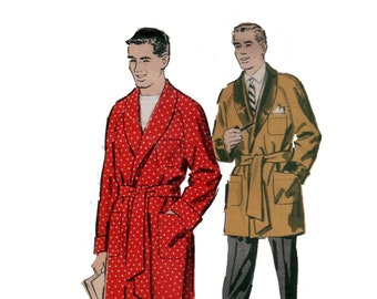 non des années 50-coupe veste peignoir homme motif motif moyen de Mens vintage pyjama poitrine 38-40 avance 8802