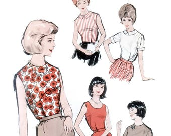60s Blouse Pattern vintage 34-26-36 Shirt pattern Fitted Blouse pattern Peter Pan Collar Blouse pattern Advance 3011