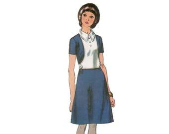 des années 70 robe aline modèle Mod robe modèle Plastron modèle vintage 34-25,5-36 simplicité 9024