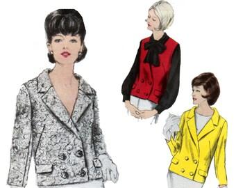 des années 60 non-coupe Double Breasted veste motif Tailored Jacket modèle 36-28-38 veste de costume motif gilet motif vintage Vogue 6233