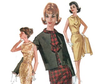 "des années 50 ""Wiggle"" robe motif sablier robe cintrée vintage patron robe 32-25-34 McCalls 6477"